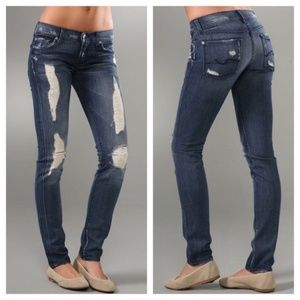 7FAMK Roxanne Liberty Destroyed Skinny Jeans 25